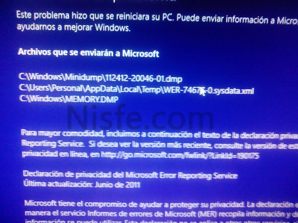 Error MEMORY.DMP de Windows 8, posible solución