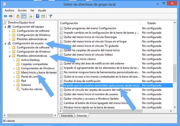 Como impedir que las aplicaciones sean desinstaladas desde la pantalla de Inicio de Windows 8