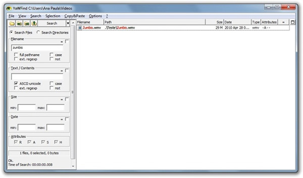 YaWFind nos permite buscar archivos y carpetas de forma rápida en Windows