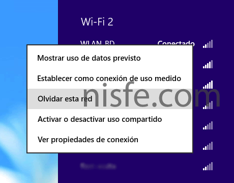 Eliminar historial WiFi de Windows 8