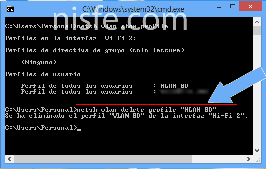 Ver y eliminar el historial WiFi de Windows 8
