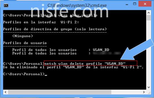 Ver y eliminar el historial WiFi de Windows 8