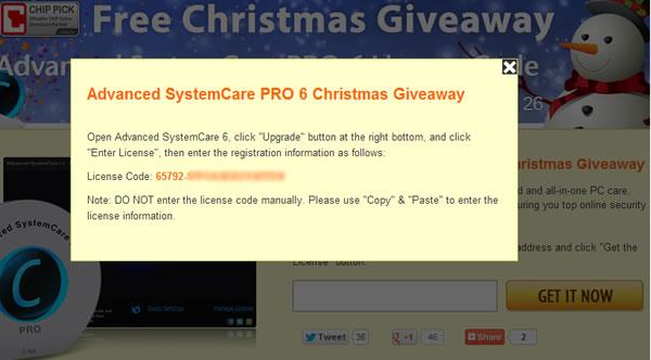 Licencia gratuita para Advanced SystemCare PRO 6