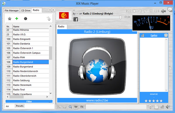 Reproductor de radio online y de música – XIX Music Player portable