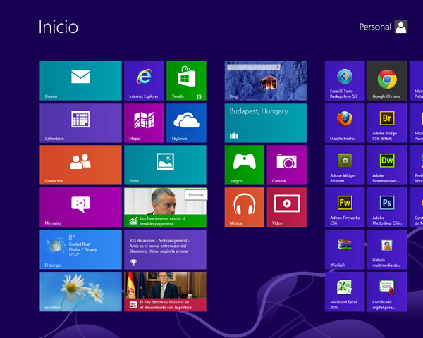 Pantalla inicio Windows 8