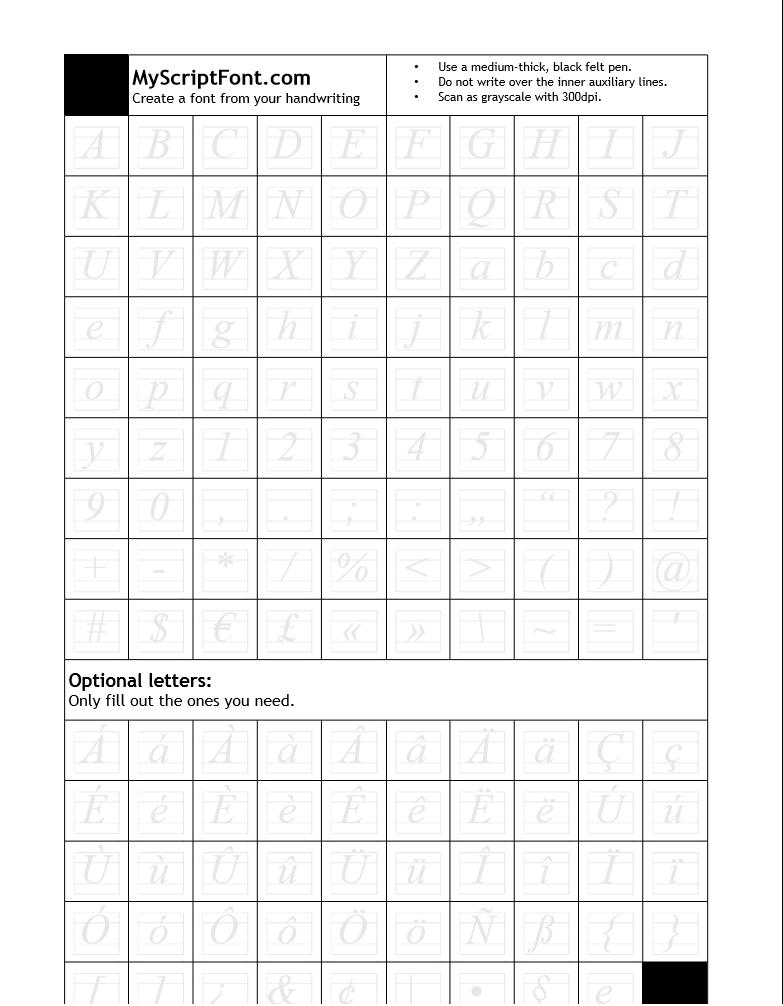 Convertir nuestra letra escrita a mano en una fuente de letra para Windows