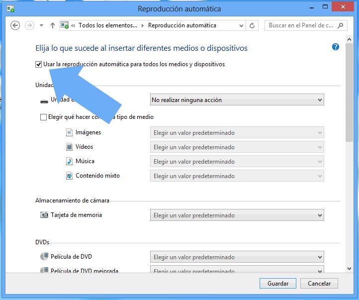 Habilitar deshabilitar reproducción automática Windows 8