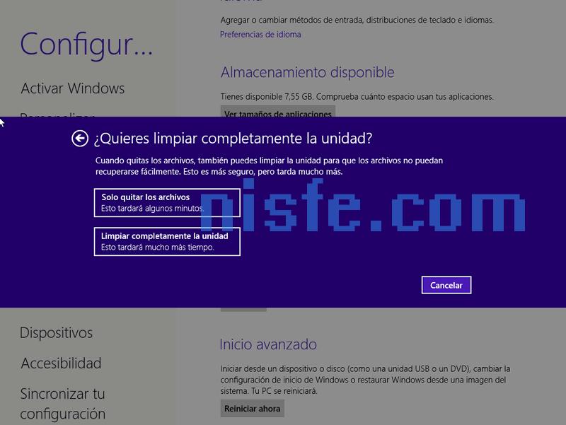 Quitar todo y reinstalar Windows 8