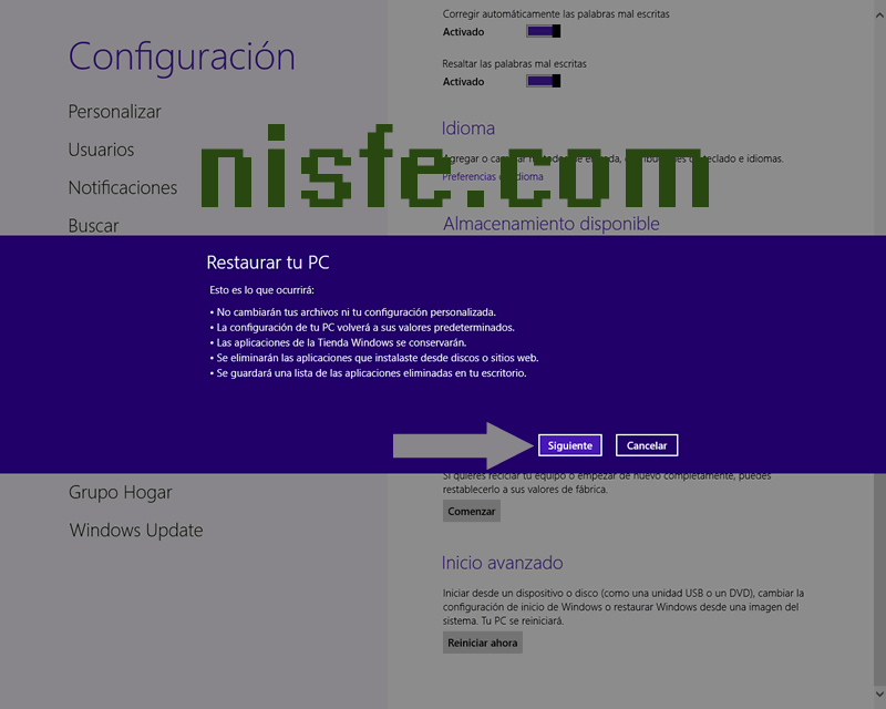 Restaurar Windows 8 estado de fábrica