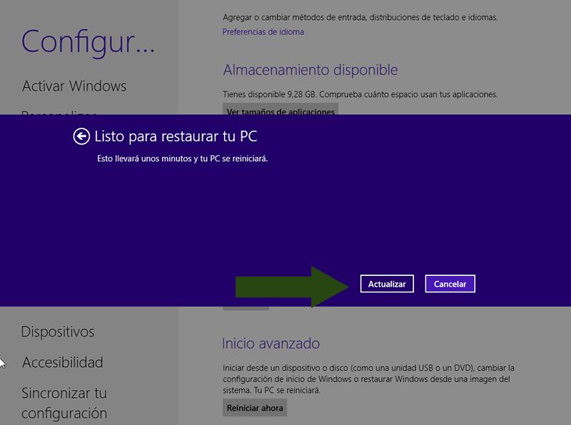 Windows 8 se reiniciara para comenzar la tarea de restaurar el sistema