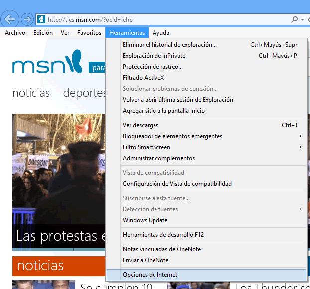 Como restaurar la configuración de fábrica de Internet Explorer 10