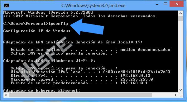 dirección ip local que tiene Windows 8