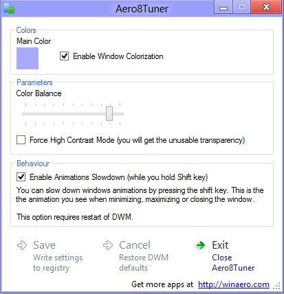 Personalizar Aero en Windows 8 con Aero8Turner