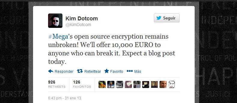 Kim Dotcom - 10.000 Euros para quien puede romper la seguridad de Mega