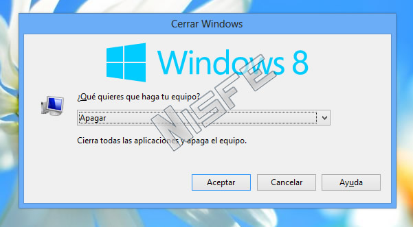 Apagar Windows 8 desde el escritorio