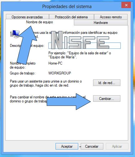 """clic en la pestaña que dice """"Nombre de Equipo"""" y luego en la opción que dice """"cambiar""""."""