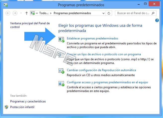 Clic en establecer programas predeterminados