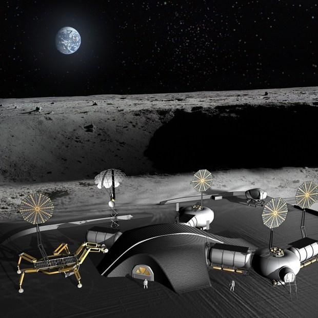 Robot araña de la NASA con impresora 3D construirá base lunar