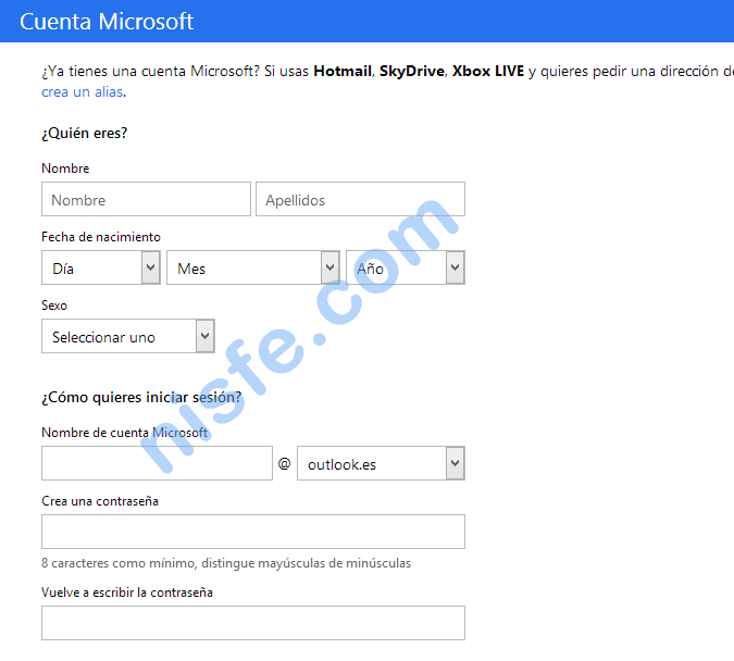 Crear una cuenta de Microsoft