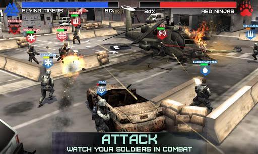 Rivals at War para Android,  entrena a un equipo de soldados y entra en batalla