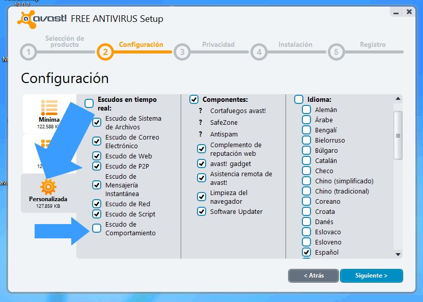 Como configurar Avast antes de instalarlo en Windows 8