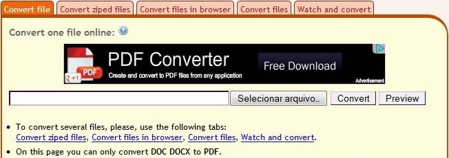 Convert Online Free convertir varios tipos de archivos en PDF y viceversa