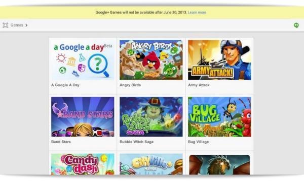 Google+ Games será desactivado el 30 de junio