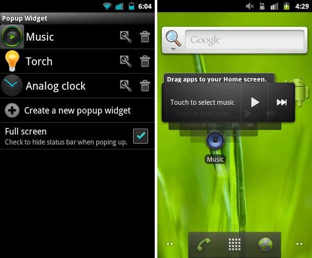Widget Popup – AD, sustituye los widgets de Android fácilmente