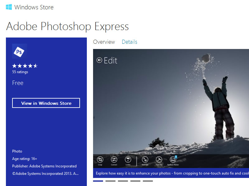 Adobe Photoshop Express llega a Windows 8 y Windows RT