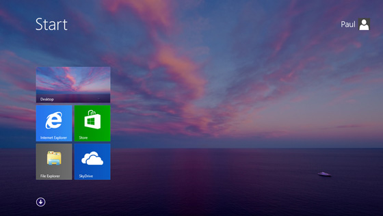 Pantalla inicial de Windows 8