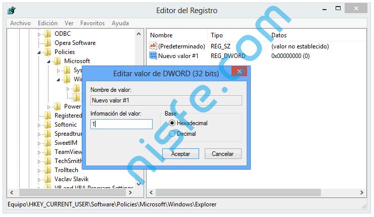 Pasos para desactivar Aero Shake en Windows 8