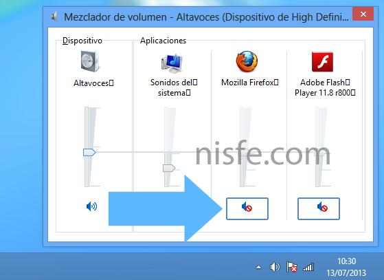 Para desactivar el sonido de una pagina web solo tienes que dar clic en el icono de los altavoces