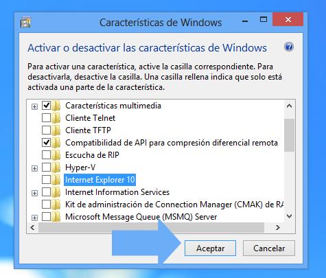 Desinstalar Internet Explorer 10 de Windows 8