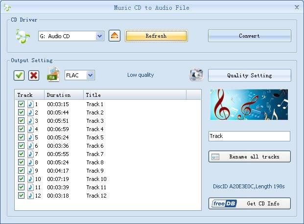 Convierta el CD de música a MP3,WMA, OGG, AAC