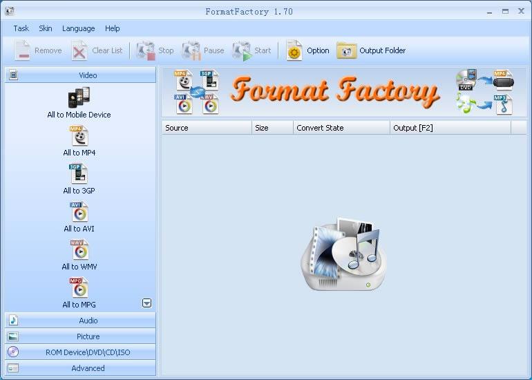 FormatFactory, un completo conversor de Audio, Imagenes y Video