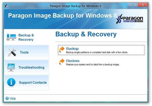 Crear copia de seguridad de Windows con Paragon Image Backup for Windows 8