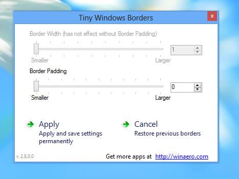 ajustar el borde de las ventanas de Windows 8