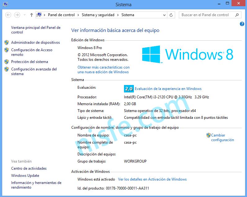 Indice de experiencia de Windows