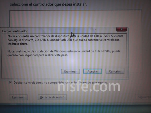 Windows 7 no detecta el lector de DVD al instalar