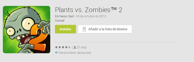 Plants vs. Zombies 2 para dispositivos Android