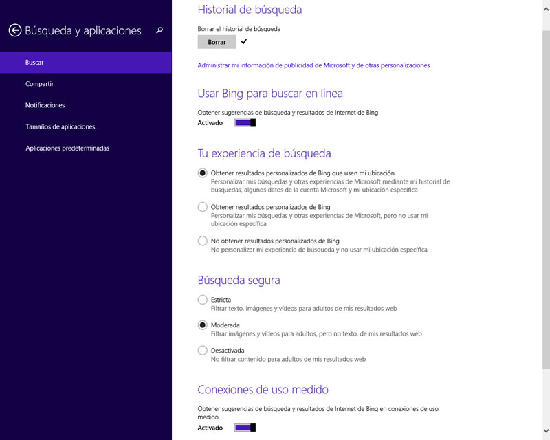 Como desactivar o configurar la búsqueda integrada de Bing en Windows 8.1