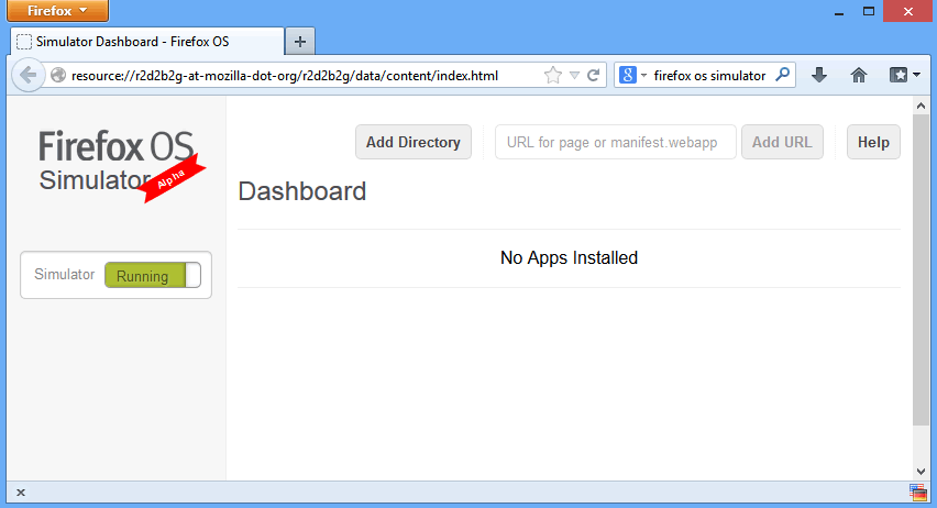 """iniciar el emulador arrastrando el botón de """"Stopped"""" para """"Running""""."""