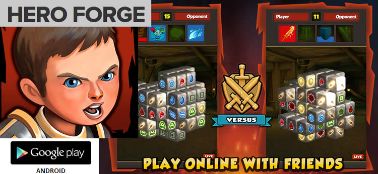 Juego para Android Hero Forge, lucha contra criaturas fantásticas en un rompecabezas