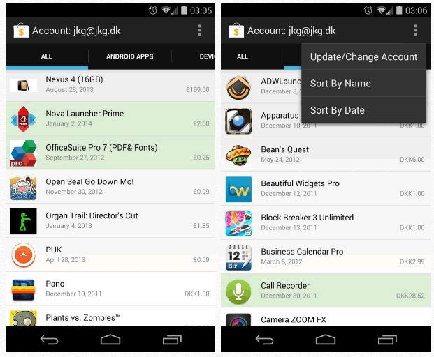 Mira la lista de todas tus aplicaciones compradas en Android, My Paid Apps