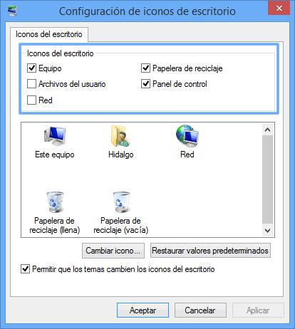 Como mostrar los iconos del sistema en el escritorio de Windows 8