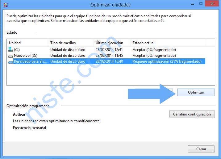 Cómo usar el desfragmentador de disco duro en Windows 8