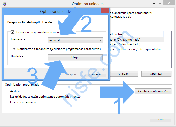 Desfragmentador de disco duro en Windows 8