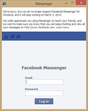 Facebook Messenger para Windows llega a su fin el 03 de marzo