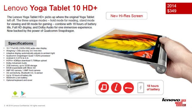 Tablet Yoga 10 HD+ es presentada por Lenovo