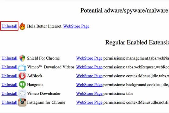 Shield For Chrome muestra que extensiones de Chrome están infectadas